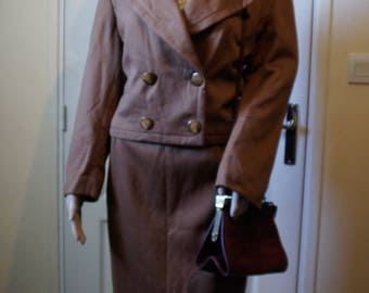 Brown set 2 PCs vintage woman.  1940s style