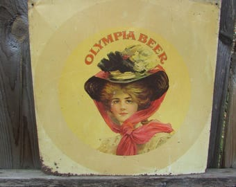 Olympia Brewing Company Thin Metal Sign for OLYMPIA BEER. Early and Rare. Tin Sign