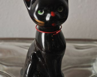 Vintage Redware Black Cat