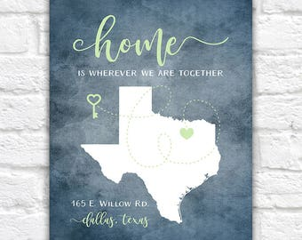 Personalized Housewarming Gift, New Home, ANY Map, House Quote, Home Is Wherever We're Together, First Home, Housewarming Party Gift   WF320