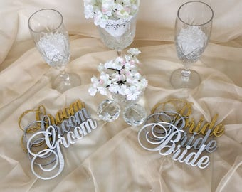 Bride and Groom Wedding Reception Table Decor, Flower Picks, Chair Decoration, Glittery Bridal Signs, Wedding Photo Props