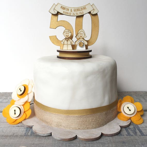 50th wedding anniversary topper - golden wedding anniversary - wedding anniversary topper