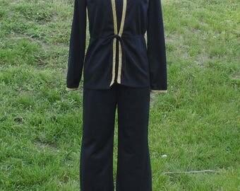 Vintage Black 1970's Charlie's Angels Hooded Romper Jumpsuit!