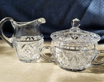 Creamer and Covered Sugar Cut Crystal Vintage Mint Condition