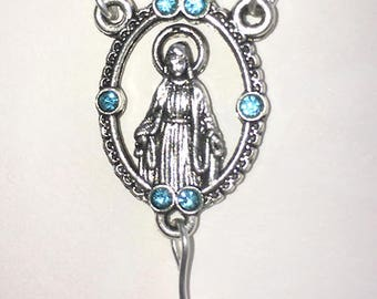 Our Lady Faceted Aqua and Blue Rosary