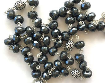 Faceted Hematite Rosary