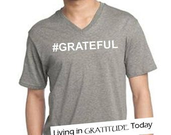 Men's grey, gray, XS-3XL, V neck, #GRATEFUL tee, Recovery tee, 12 step tee, inspirational tee, yoga, positive vibes, urban wear street wear