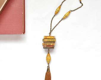 Stacked Books Pendant and Tassel Necklace OOAK Vintage Style Handmade Miniature Books Jewelry Geekery Shabby Chic Book Lover Bookworm Gift