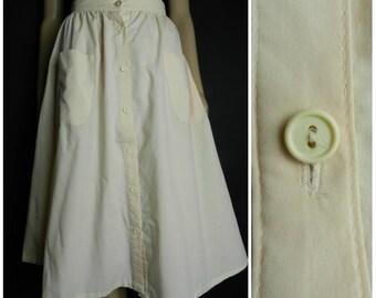 Sale 70s high waist lightweight cotton peach button down midi skirt summer skirt utility skirt pockets U.K.  8 - 10 SM M