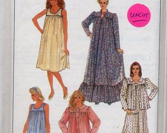 Misses Nightgown, Robe, PJs and Bed Jacket, 1990s Simplicity 8310, sizes XS to XL