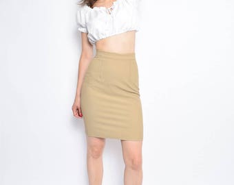Vintage 90's Ribbed Beige Tight Skirt / High Waist Light Brown Pencil Skirt - Size Extra Small