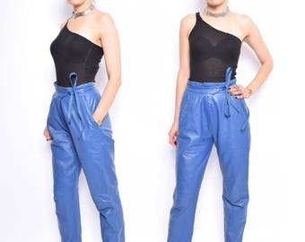 Vintage 80's Blue Real Leather Pants / High Waisted Genuine Leather Front Pleated Pants - Size Medium
