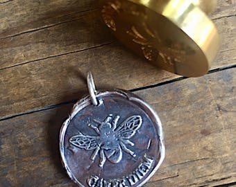 CARPE DIEM / Fine Silver /  Wax Seal Pendant / Seize The Day /Busy Bee
