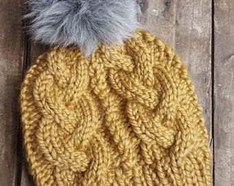 Golden Yellow Cable Knit Beanie