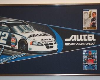 NASCAR driver Ryan Newman Alltel Pennant & Cards...Custom Framed!!!!