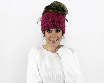 Messy Bun Hat, Ponytail Headband, Knit Pony Tail Bun- Piscataway Ponytail Hat