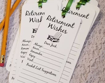Set of 8 Retirement Wishing Tree Tags / Bookmarks / Retirement Party Idea / Retirement Cards / Retirement Wish Cards