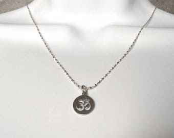 OM Symbol Coin Necklace - Sterling Silver Medallion Necklace - Disk Necklace - Jewelry for Her