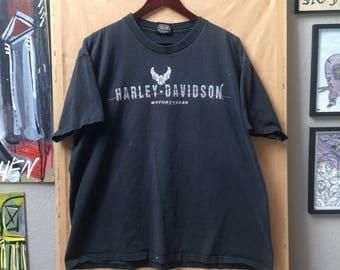 Vintage 1992 Harley Davidson Logo Shirt Made in USA Holoubek Reno Nevada Eagle