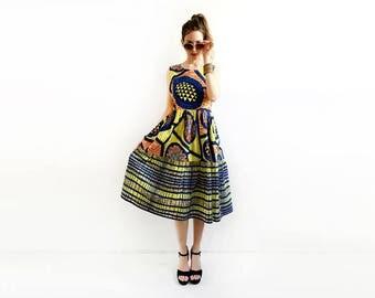 Yellow African Midi Dress, Summer Dress, African Dress, Tank Top Dress, Unique Dress, Dress with Pockets, Loose Dress, XS, S, M, M+