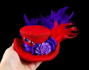 Red and Purple Red Hat Society Themed Mini Victorian Riding Hat Fascinator, Marie Antoinette, Alice in Wonderland Mad Hatter Tea Party