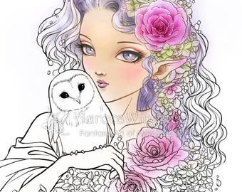 Digital Stamp - Owl Spirit - Big Eye Elf with Barn Owl and Flowers - Fantasy Line Art for Cards & Crafts by Mitzi Sato-Wiuff