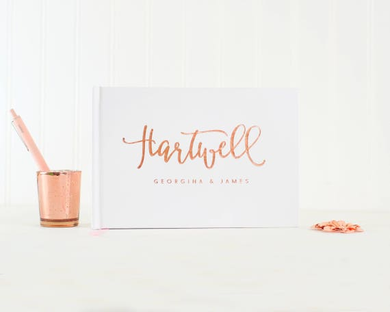 Wedding Guest Book Rose Gold Foil wedding guestbook landscape horizontal wedding book Personalized hardcover wedding guest book signin book
