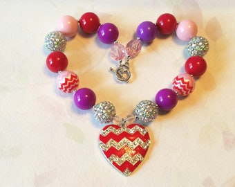 Valentine Necklace Bubble gum necklace Pink Purple Red Chevron Chunky Bead Necklace Rhinestone Heart For Toddler, Little Girls