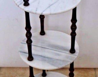 Vintage Dark Wood Italian Fine Marble three tier round table Plant Stand safe nation wide shipping