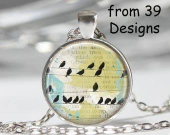 Bird on Wire Necklace, Art Print Pendant Jewelry, Charm Jewelry or Keyring fob, Soar Necklace, Flying Bird Key fob