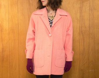 Vintage 80s Wool Coat Pink Jacket for Women ~ Small