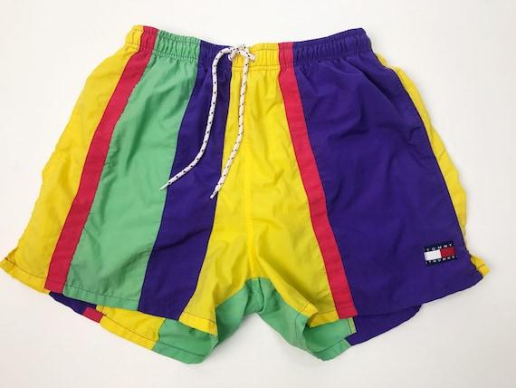 90's Mens Tommy Hilfiger Swim Trunks Medium - Rainbow Tommy Trunks Summer Swim Shorts With Net Lining - Tommy Grunge Color Block Swim Trunks
