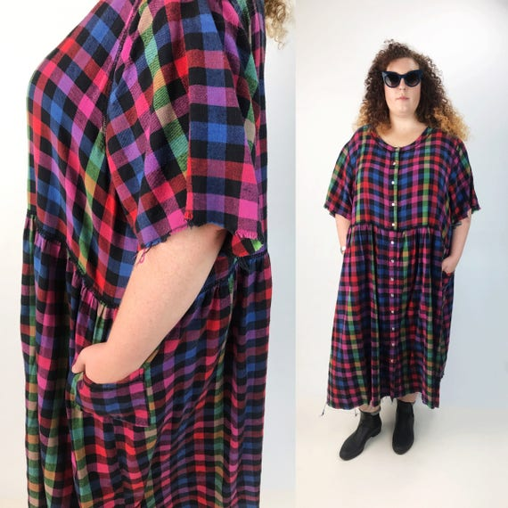 90's Rainbow Flannel Baby Doll Dress 5XL Plus - Long Frayed Plaid Cotton Grunge Dress - Plus Size 90s Hipster Fashion Plaid Colorful Dress