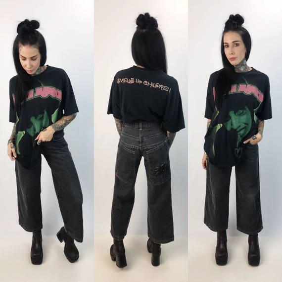 "90's JNCO Wide Leg Denim Size 14 Boys / Women small 28"" - Black Denim Skater Pants Grunge Wide Leg Baggy Jeans - Black Baggy Spider Jncos"