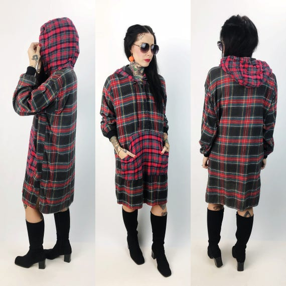 90's Long Hooded Flannel Dress Womens Medium - Mixed Prints Red Black Plaid Baggy Long Hoodie - Long Sleeve Sleep Shirt Flannel Shirt Dress
