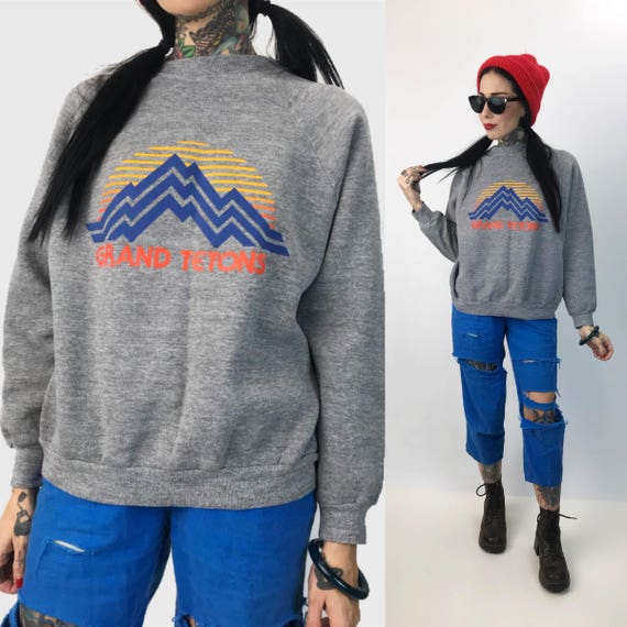 80's Wyoming Grand Tetons National Park Retro Pullover Large - VTG Soft Souvenir Sweatshirt Mountains Forest Hiking Nature Pullover Jumper