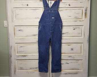 Vintage Big Smith Overalls; blue denim with green writing on snaps;  80's; Unisex Size 40-30