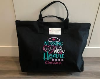 Nurse/RT tote, personalized embroidered zippered tote, 4 designs to choose from