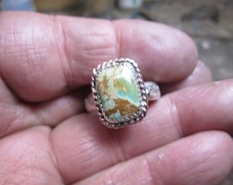 Ring, size 12 1/2... sterling silver... Variscite... signed