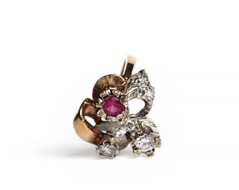 Retro 1940s Diamond Ruby Ribbon Ring in 14k White & Rose Gold  - Vintage Bow Statement Ring