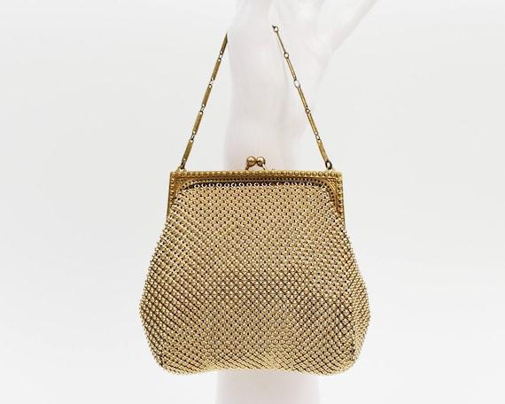 Gold Whiting and Davis Beadite Handbag - Vintage 1930s Metallic Mesh Evening Bag