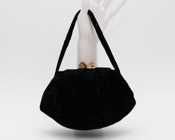 50s Black Velvet Handbag - Vintage 1950s Evening Bag