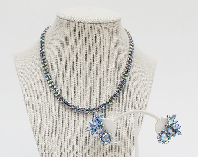 Sherman Blue Rhinestone Necklace and Earrings - Vintage 1960s Aurora Borealis Rhinestone Set