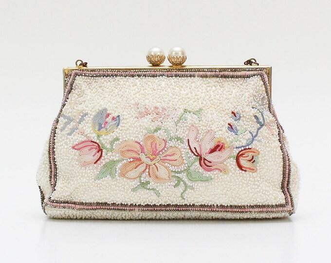Antique 1930s Beaded Pastel Floral Handbag