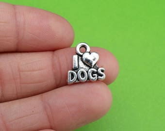 6 I Love Dogs Charms