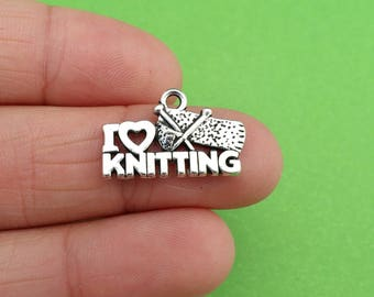 8 I Love Knitting Silver Charms