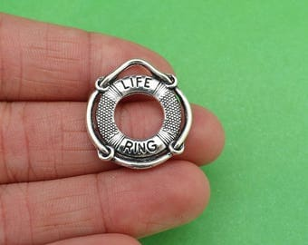6 Life Ring Lifeguard Float Silver Charms (CH307)