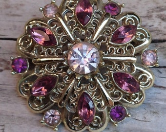 Vintage purple rhinestone brooch
