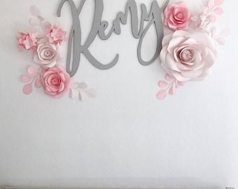 Nursery Wall Decor - Nursery Paper Flowers- Blush Nursery Decor - Pink Nursery Paper Flowers (code:#120)