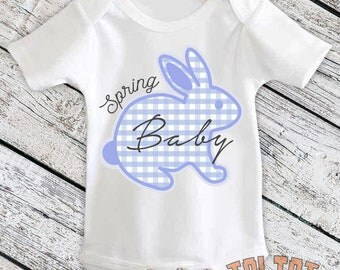 Spring Bunny Bodysuit, Easter Baby, Easter Rabbit Outfit, Blue Plaid, Custom Easter Bunny for Babies, Toddlers, One Piece
